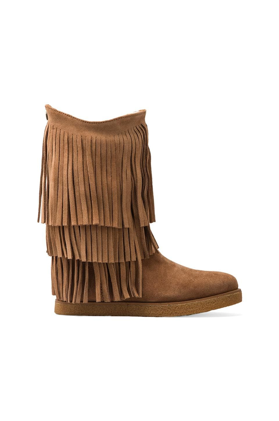 Koolaburra Josie Fringe with Sheep Faux Fur and Twinface Sheepskin in Chestnut