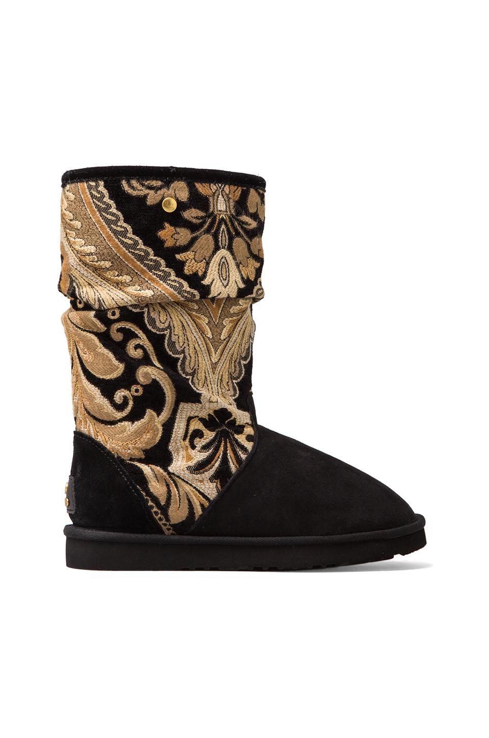 Koolaburra Myka Tapestry Boots with Wool and Twinface Sheepskin in Black Tapestry