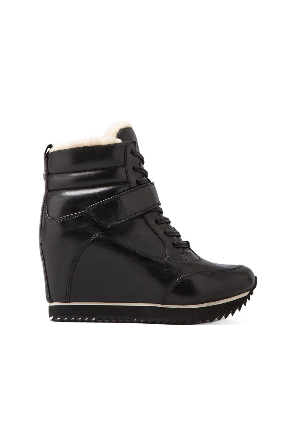 Koolaburra Snow Jog Wedge Sneaker with Sheep Wool in Black