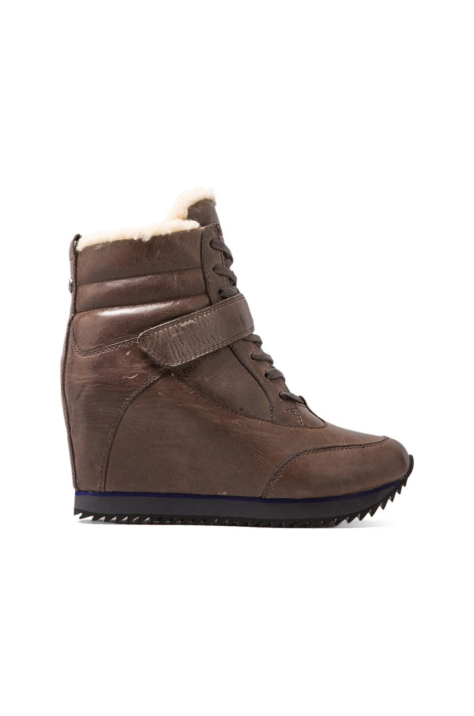 Koolaburra Snow Jog Wedge Sneaker with Sheep Wool in Monk Brown