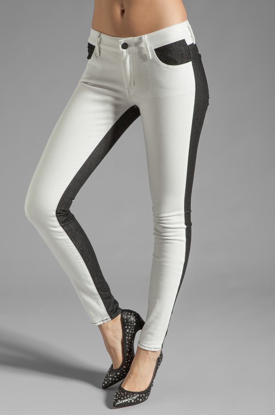 Koral Denim Color Block Skinny in White/Black