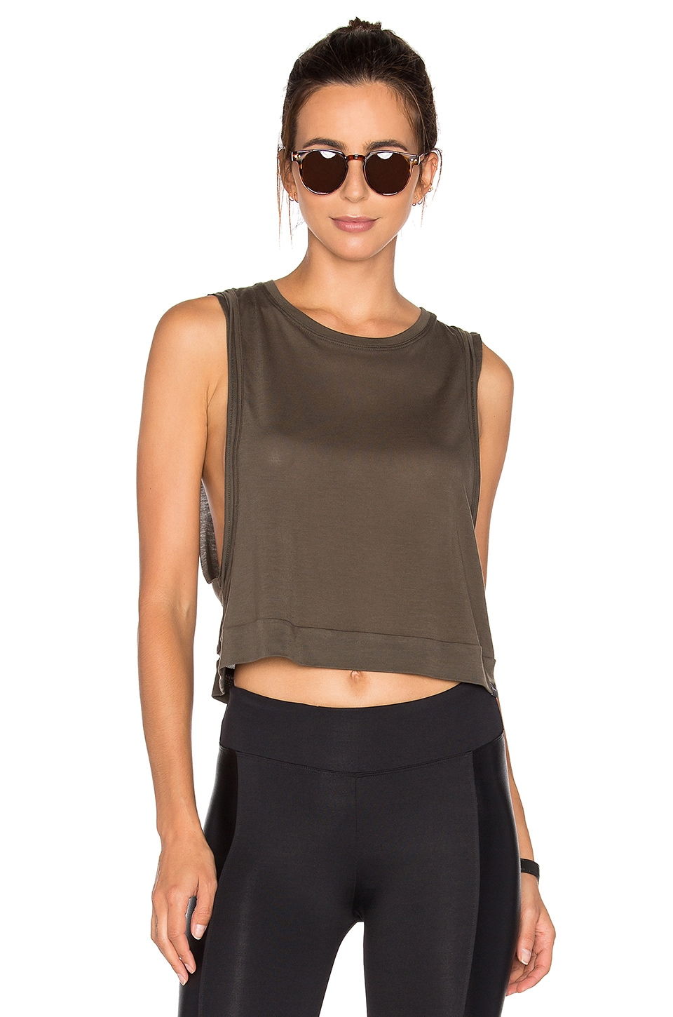 KORAL Cut Crop Tank in Military Green