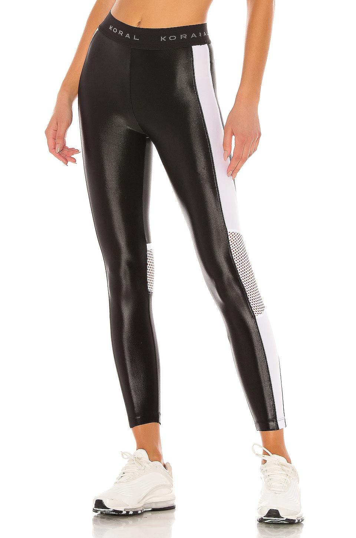 KORAL Emblem High Rise Cropped Legging in Black & White