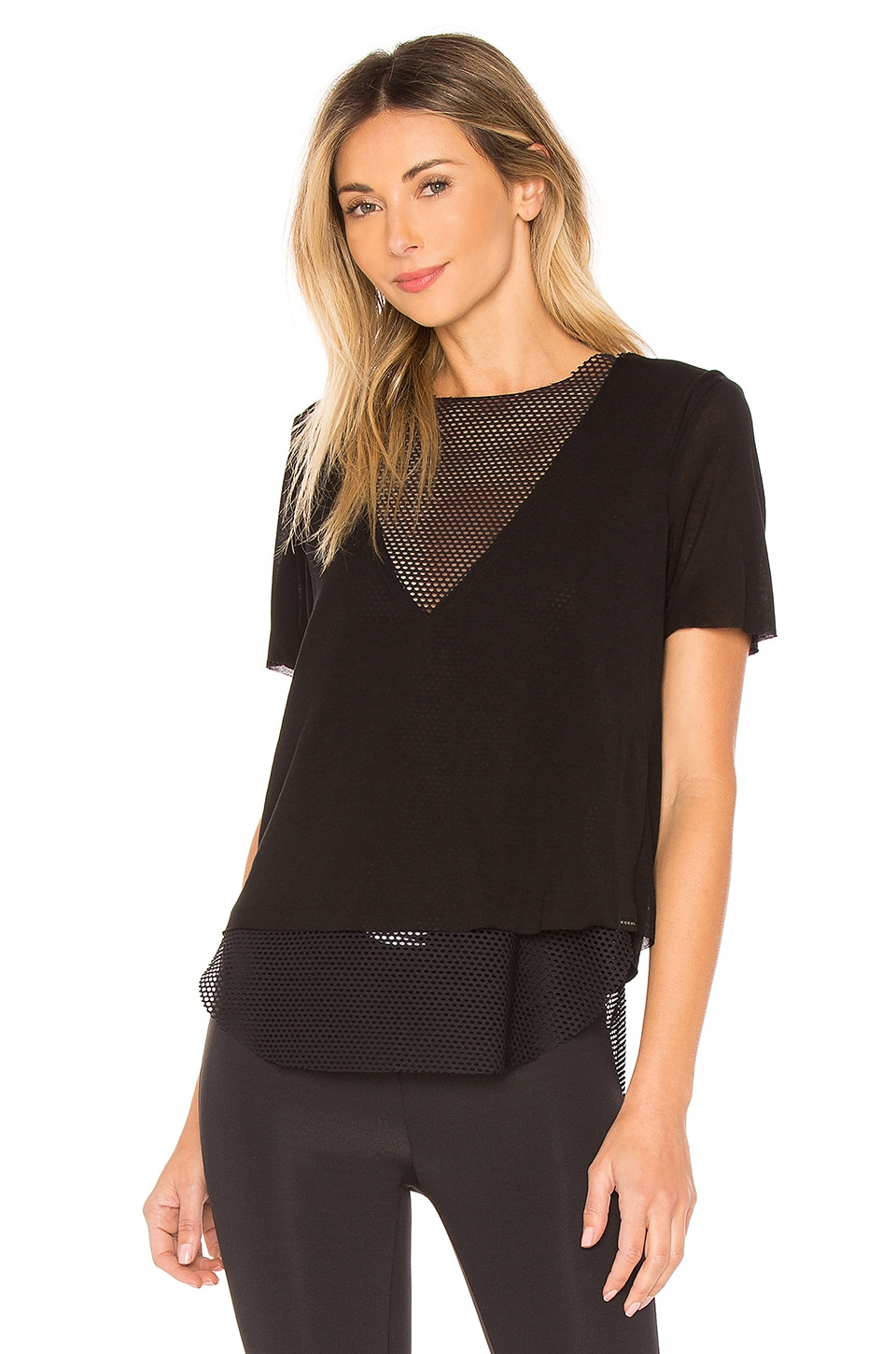 KORAL Double Layer Tee in Black
