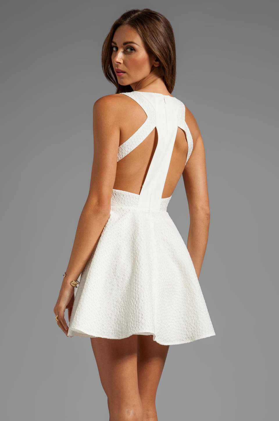 keepsake Lady Doll Tank Dress with Cut Outs in Ivory Jacquard