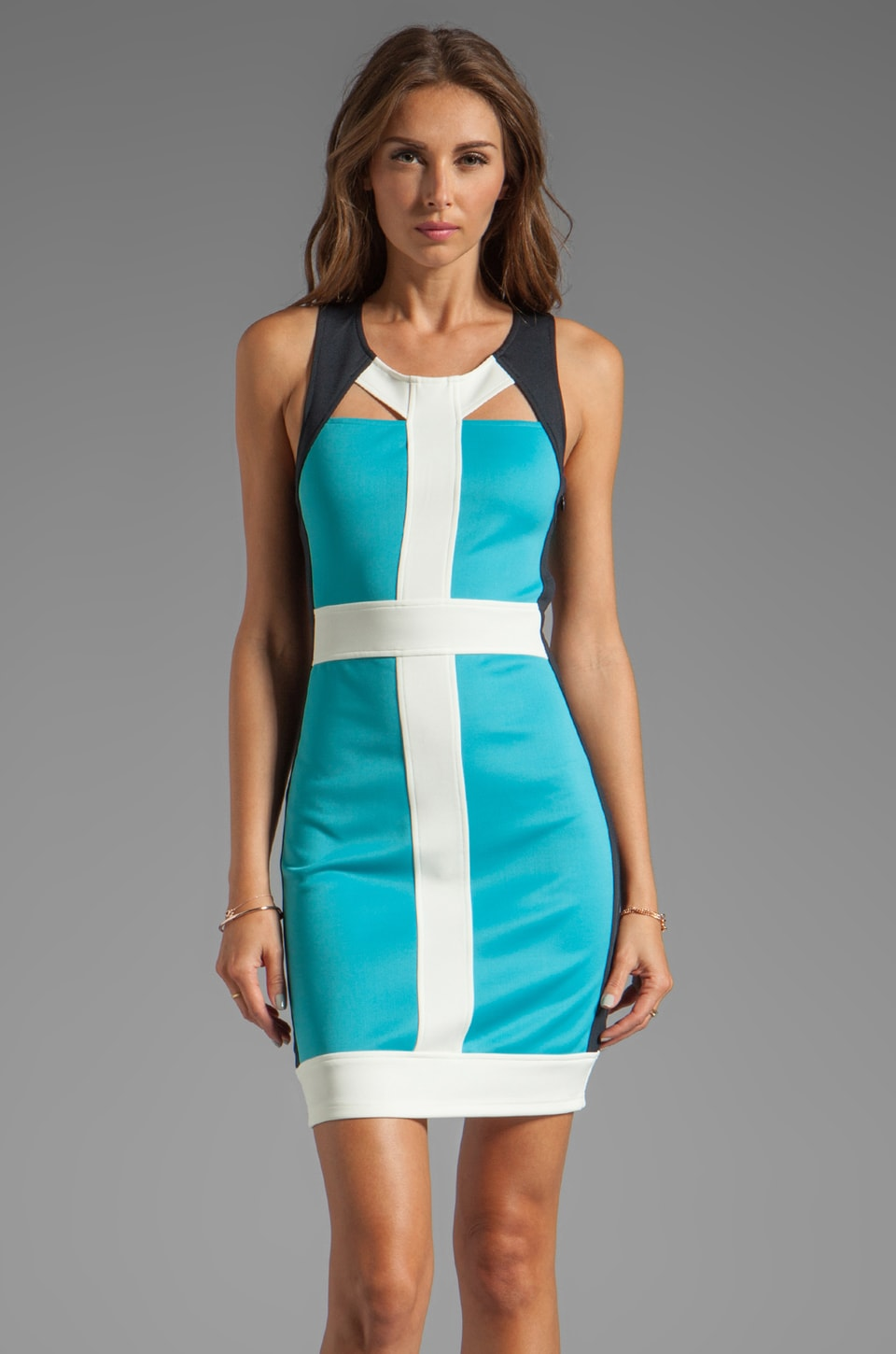 keepsake Have It All Dress with Cut Outs in Aquamarine/Navy/Ivory