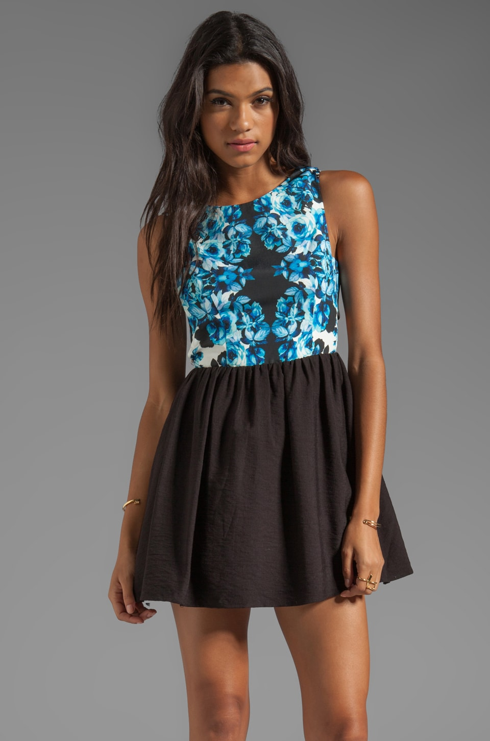 keepsake I'm His Girl Dress in Wallflower Print/Black