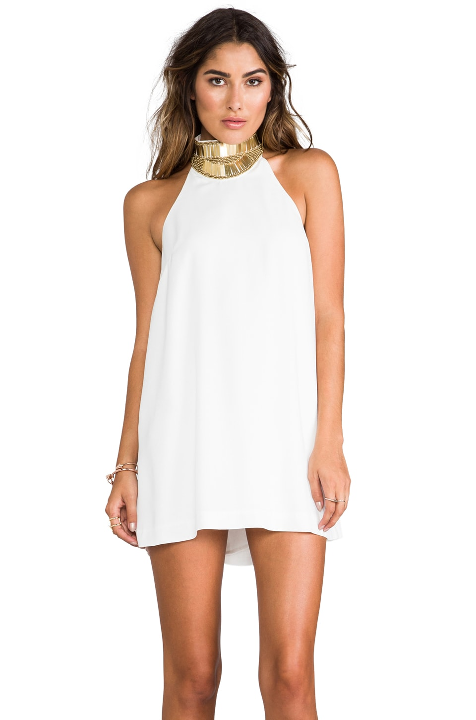 keepsake Modern Myth Mini Dress in Ivory/Gold