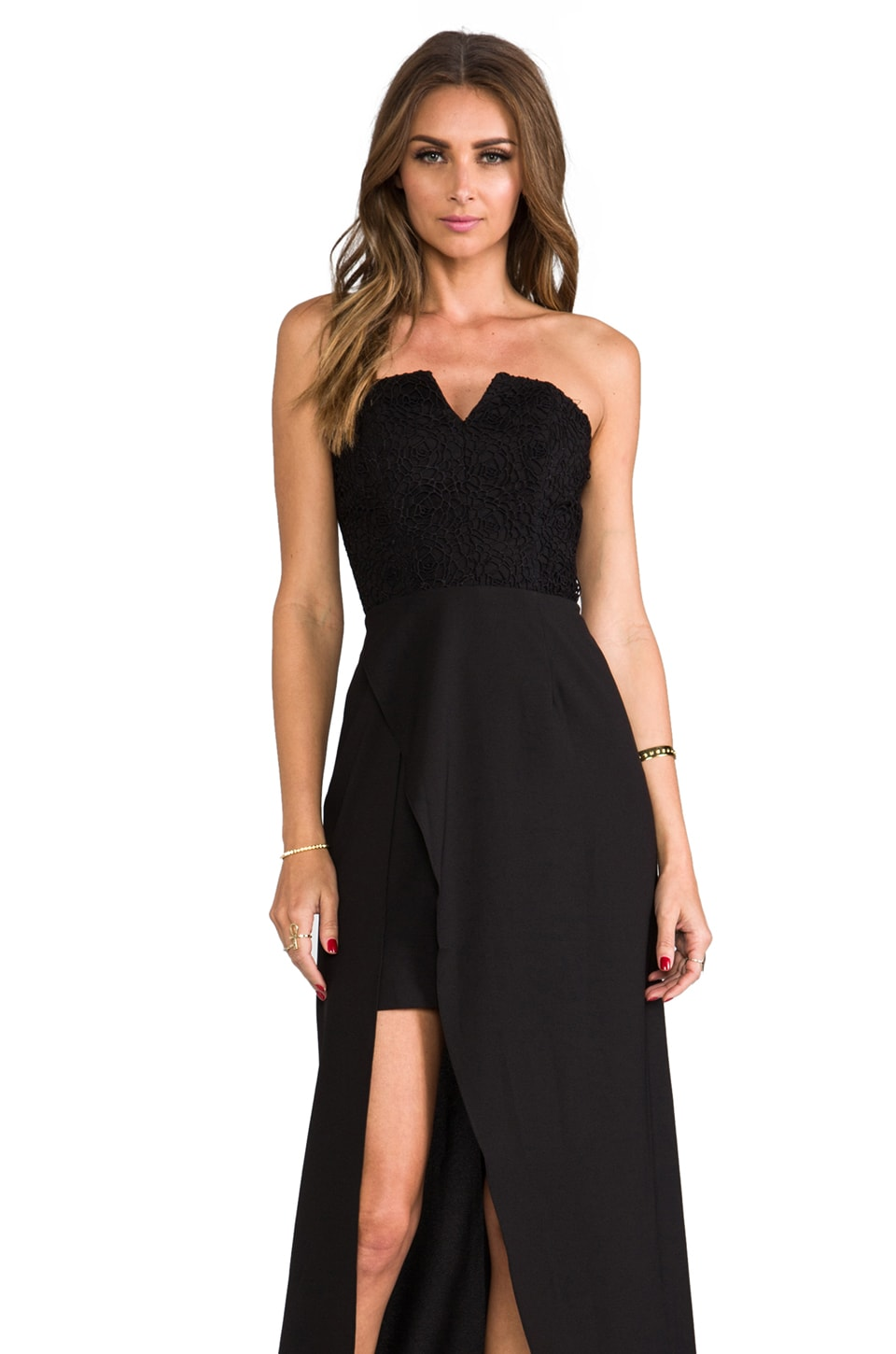 keepsake First Date Maxi Dress in Black/Black Lace