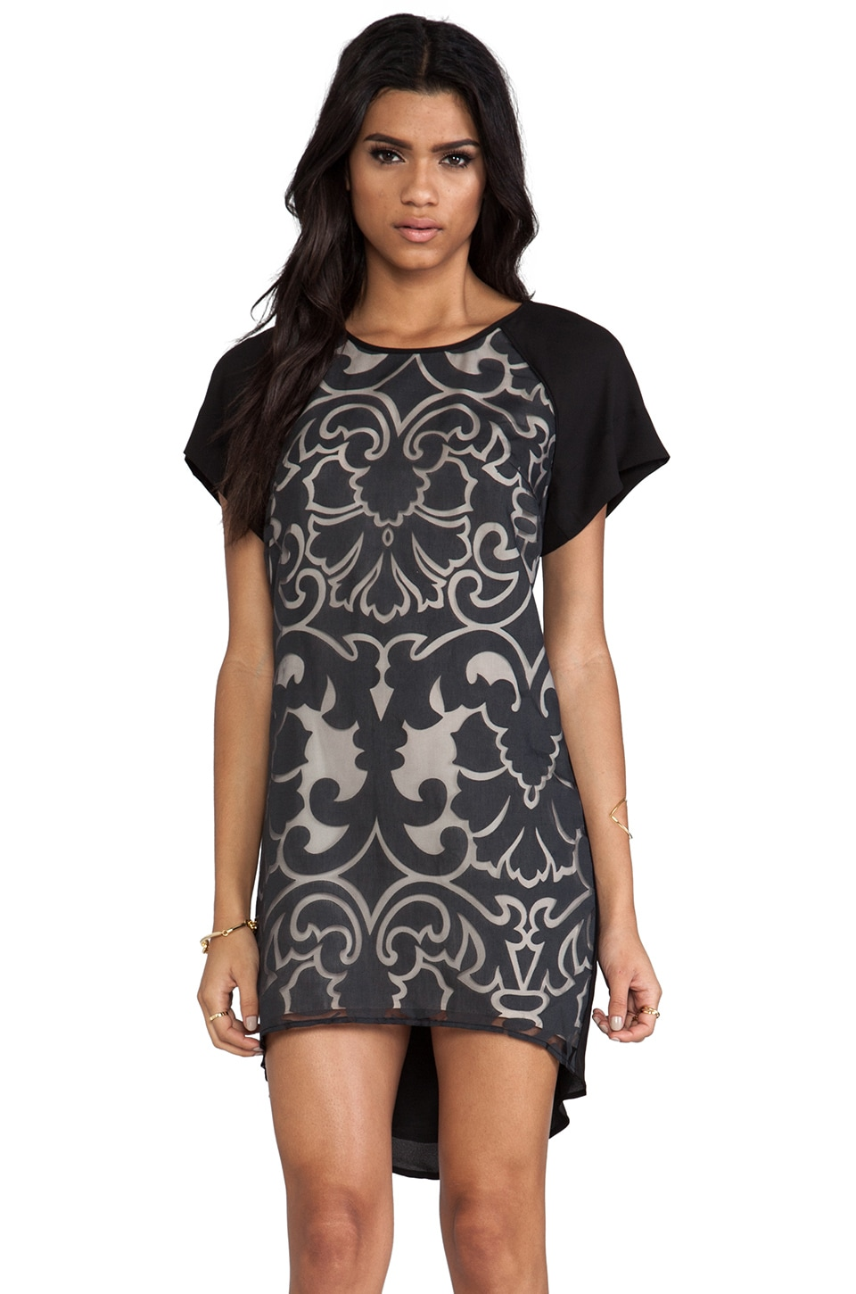 keepsake Little Talks Dress in Black Lace Burnout