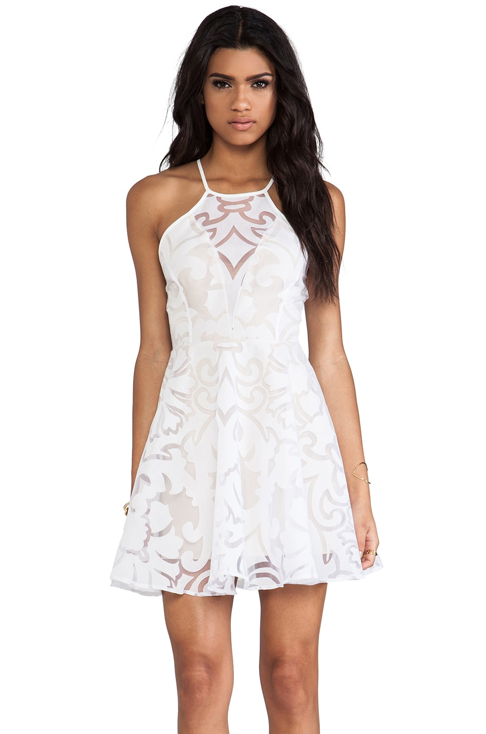 keepsake Romantic Rebel Dress in Ivory Lace Burnout