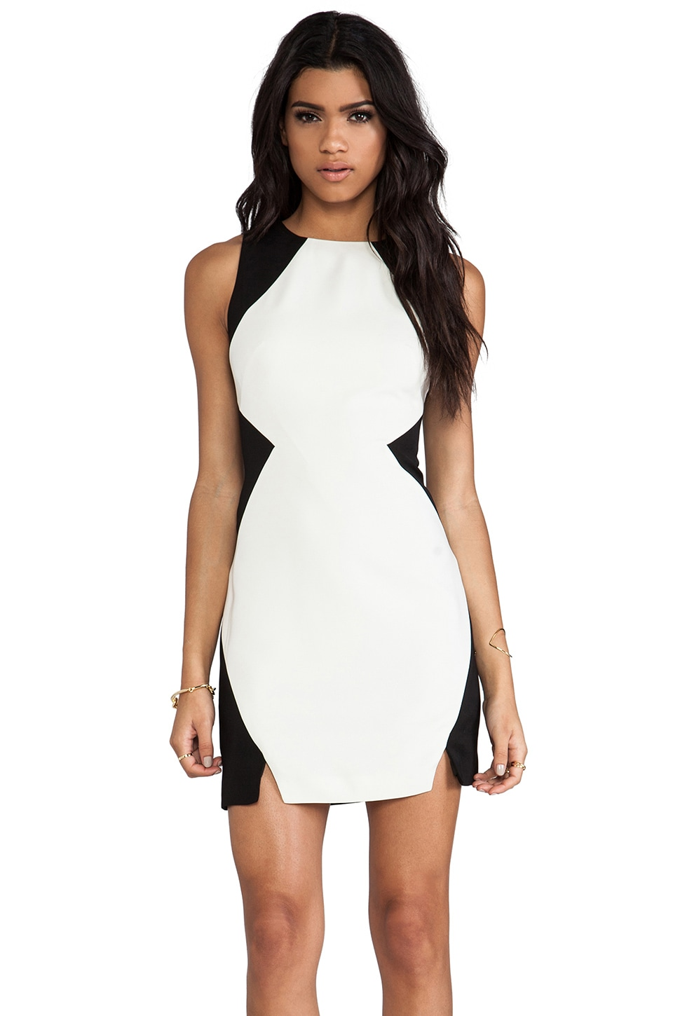 keepsake Check Point Dress in Black & Ivory