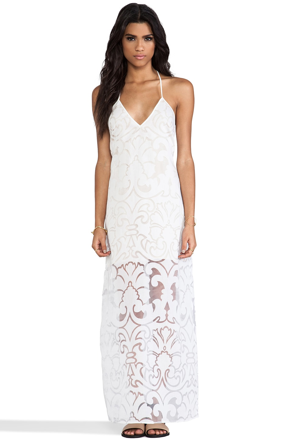 keepsake Botanic Maxi Dress in Ivory Burnout Lace