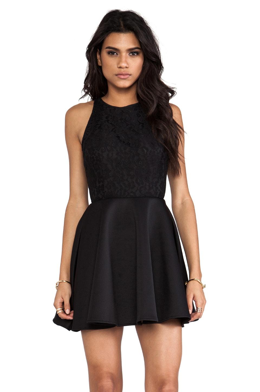 keepsake Almost Over Mini Dress in Black & Black Lace