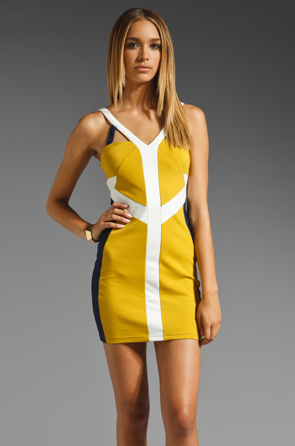 keepsake Two Words Body Dress in Mustard/Navy/Ivory