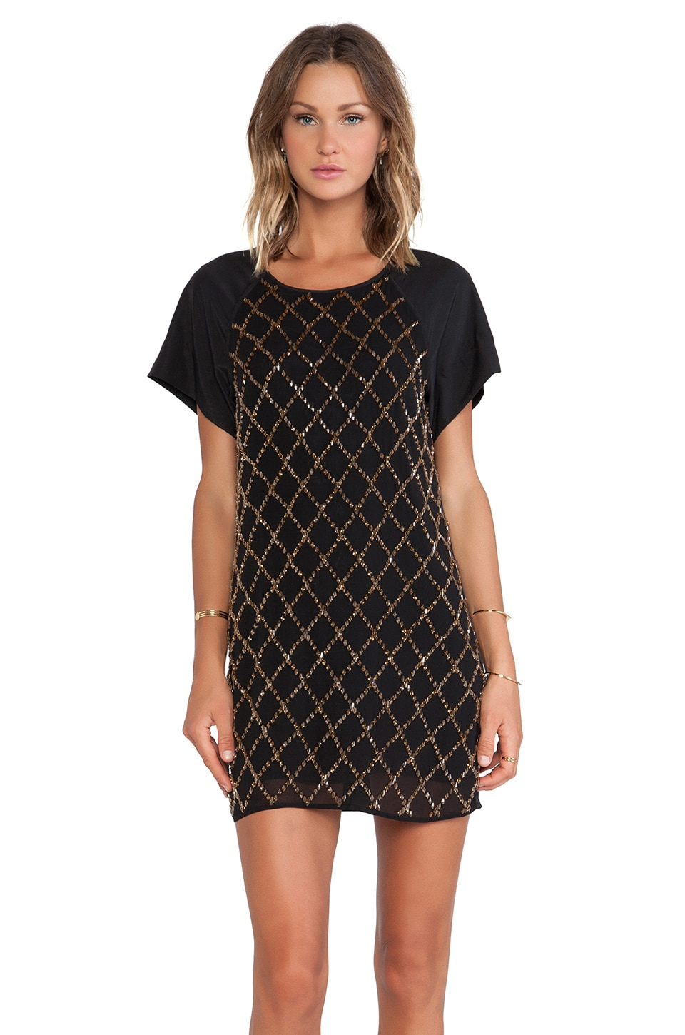 keepsake Little Talk Dress in Black & Gold