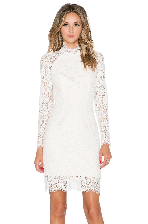 keepsake One Night Long Sleeve Lace Dress in Ivory