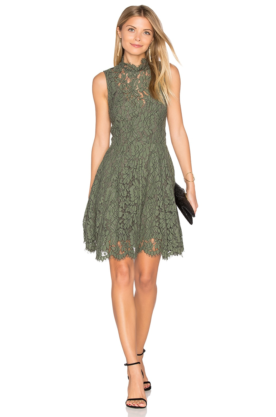 keepsake Porcelain Lace Mini Dress in Khaki