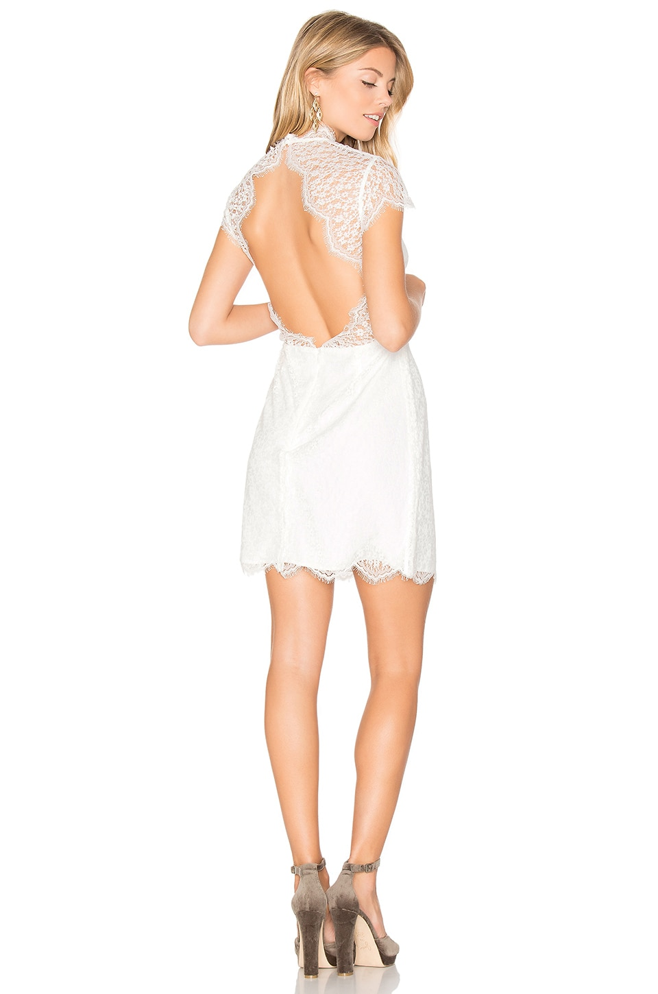 keepsake Daydream Lace Mini Dress in Ivory