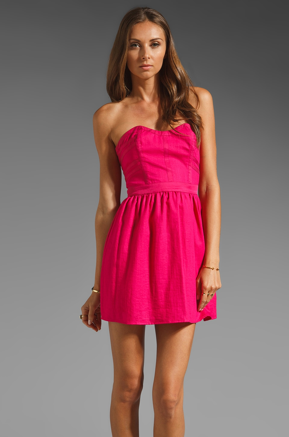 keepsake Still On My Mind Strapless Dress in Fuchsia