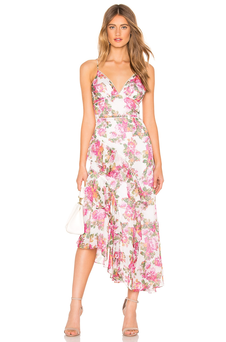 keepsake Oblivion Midi Dress in Ivory Rose Floral