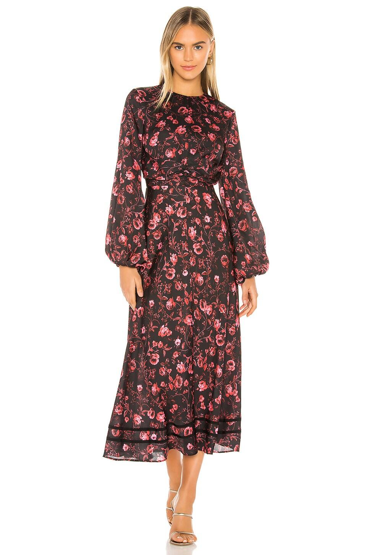 keepsake Genius Midi Dress in Black Rose Garden