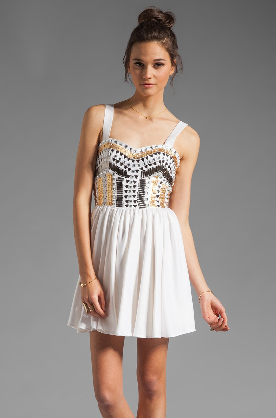 keepsake Force of Nature Dress in Ivory/Beading