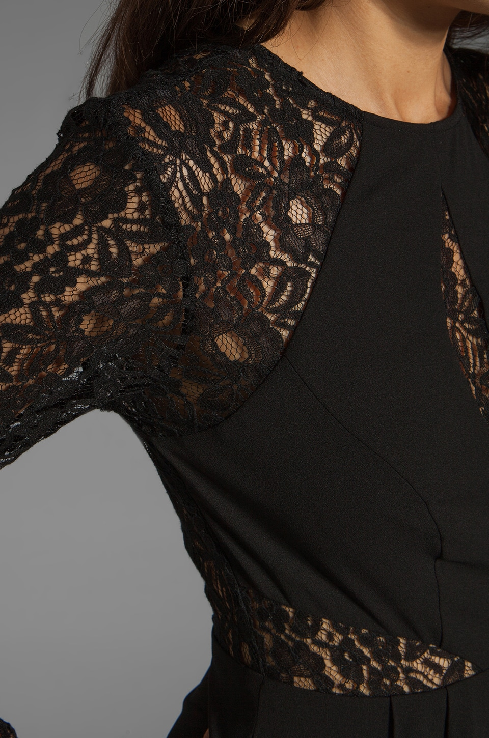 keepsake Walking on a Dream Long Sleeve Dress in Black/Black Lace