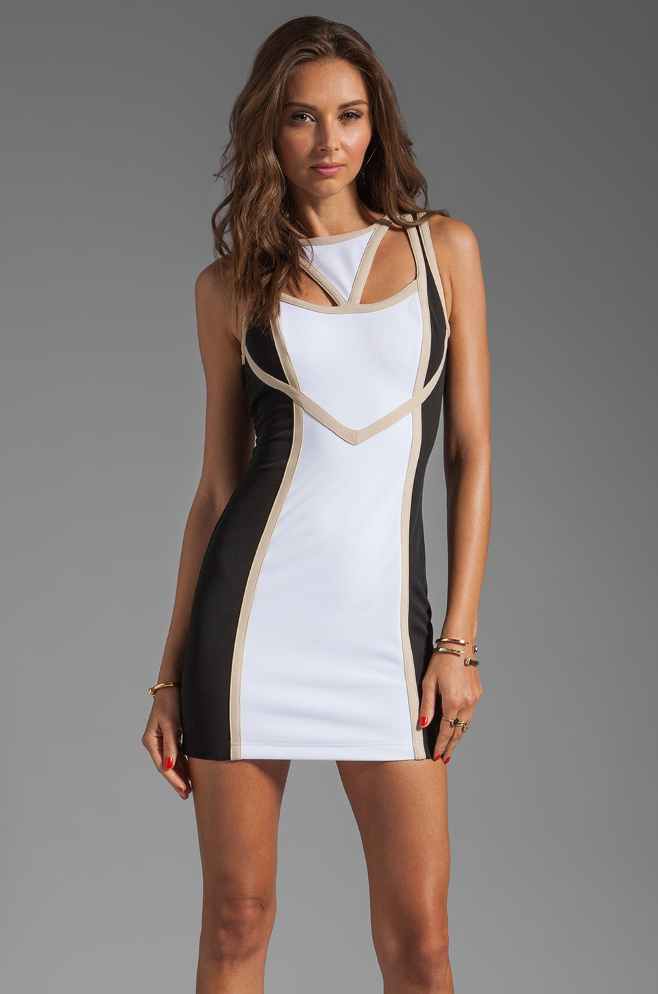 keepsake Never Miss a Beat Body Dress in White/Black/Beige