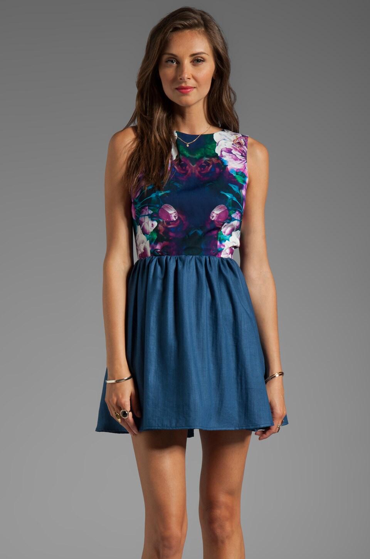 keepsake Whole Lotta Love Dress in Navy Mirrored Floral Print