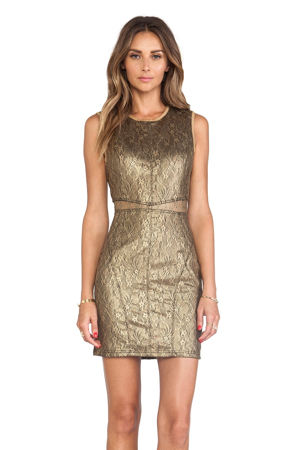 keepsake Stand By Me Dress in Gold Lurex