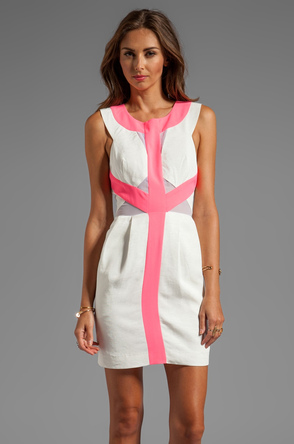 keepsake Too Much of Nothing Tank Dress in Ivory/Fluro Pink