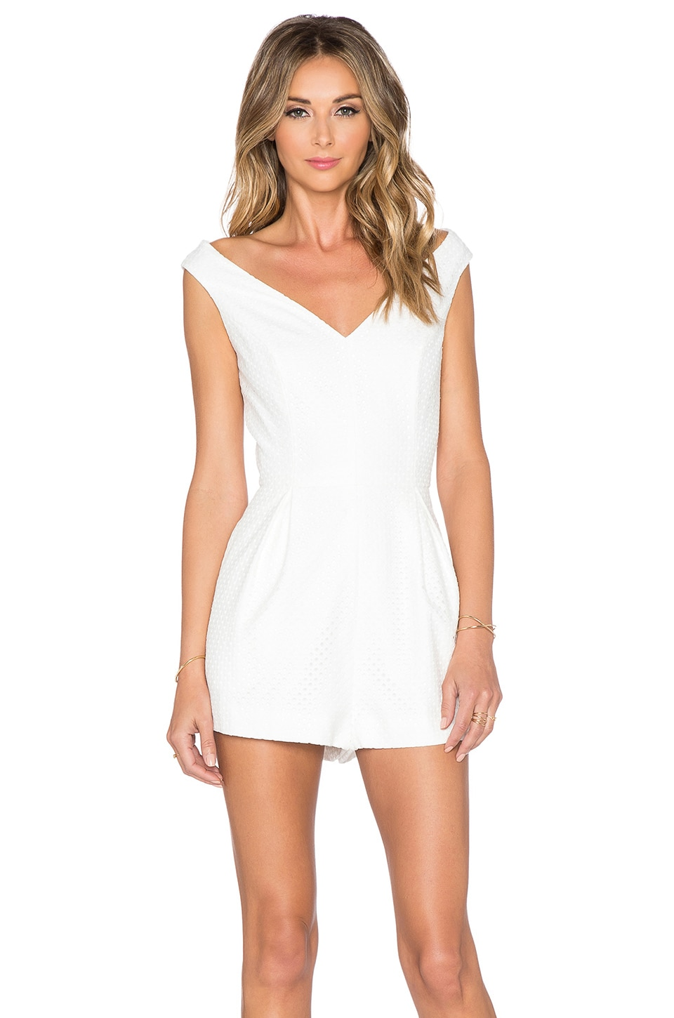 keepsake If you Leave Playsuit in Ivory Lace