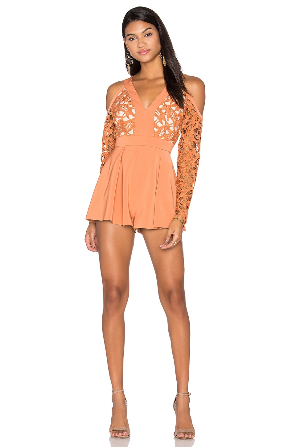 keepsake The Moment Lace Romper in Terracotta