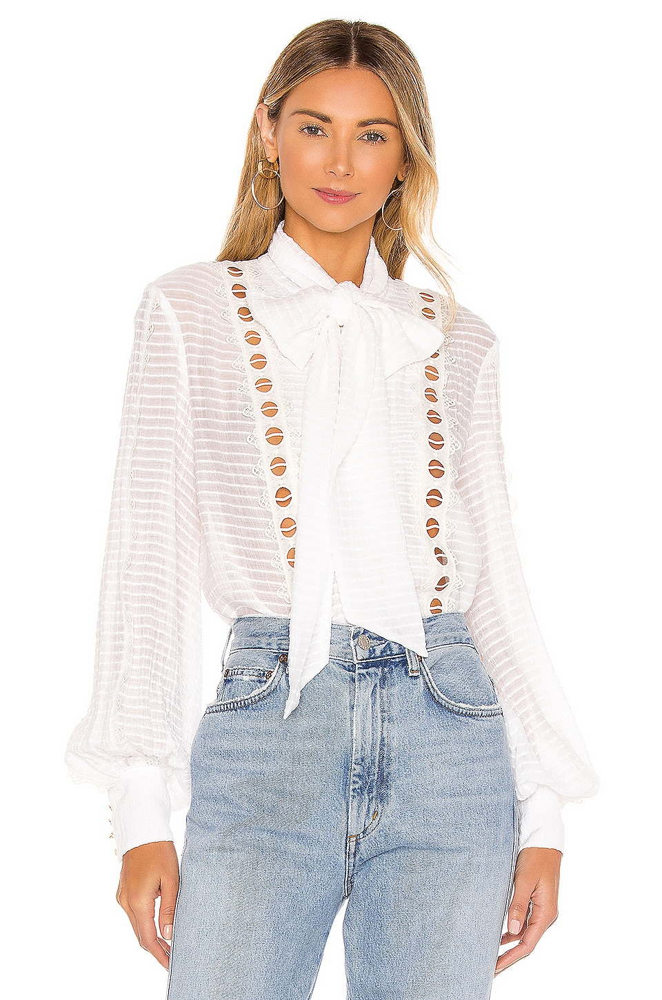 keepsake New Look Long Sleeve Top in Porcelain