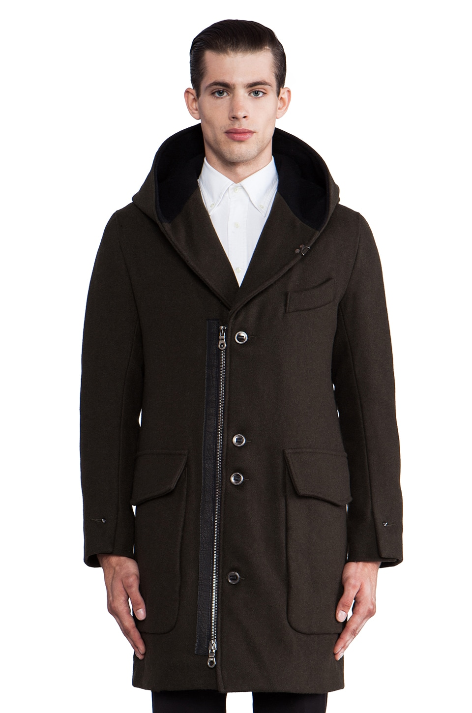 KRANE Beaumer Hooded Shawl Collar Overcoat in Dark Olive