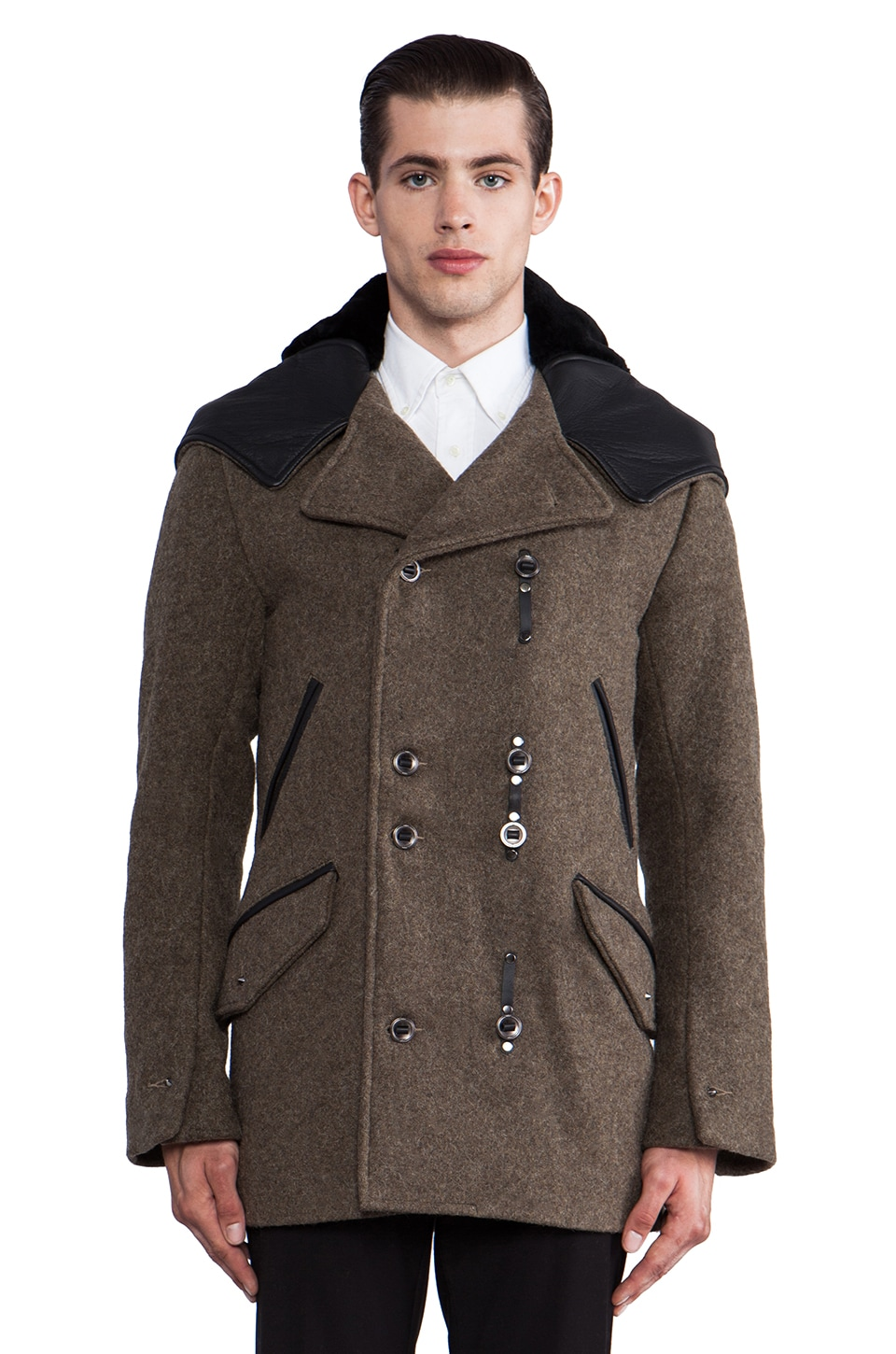 KRANE Asher Hooded Peacoat in Olive