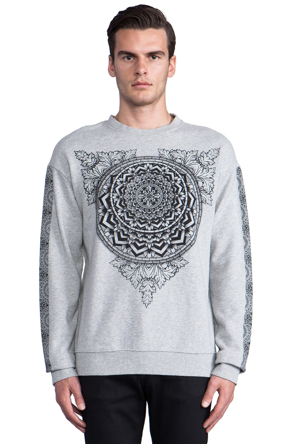 Ksubi Metal Motif Sweat in Grey Marle