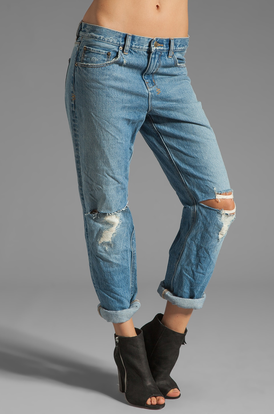Ksubi Boyfriend Jean in Straight Up Trashed