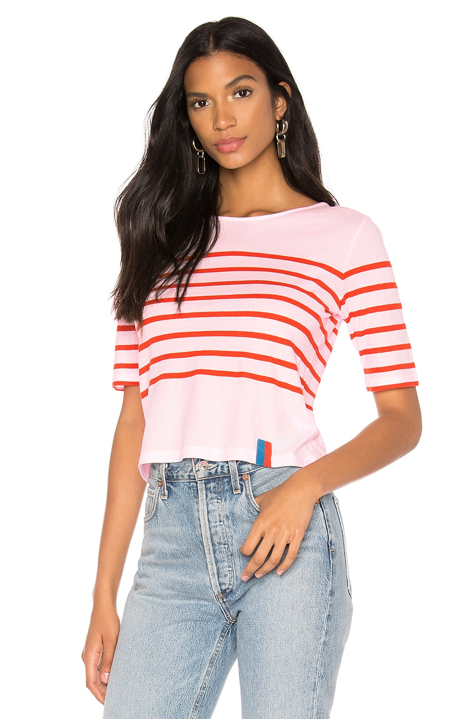 Kule The Crop Tee in Pink & Red