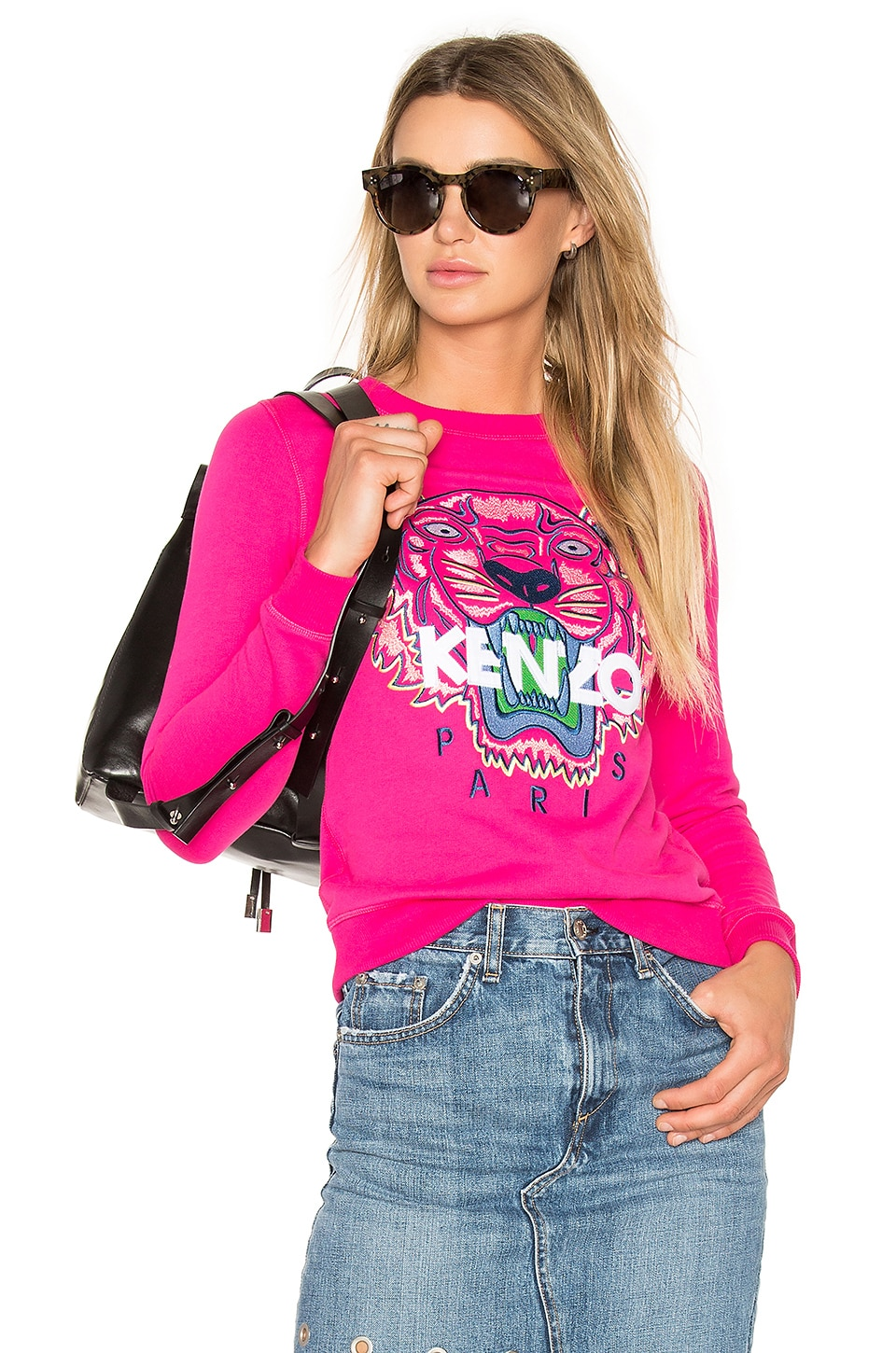 Kenzo Embroidered Tiger Pullover in Drop Fuchsia