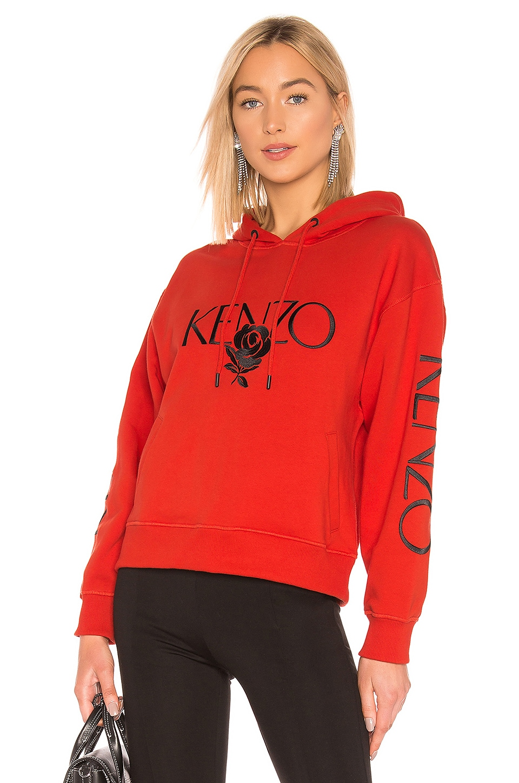 Kenzo Bold Hoodie in Medium Red