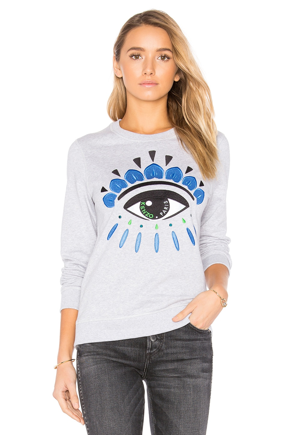 Kenzo Embroidered Eye Pullover in Light Grey