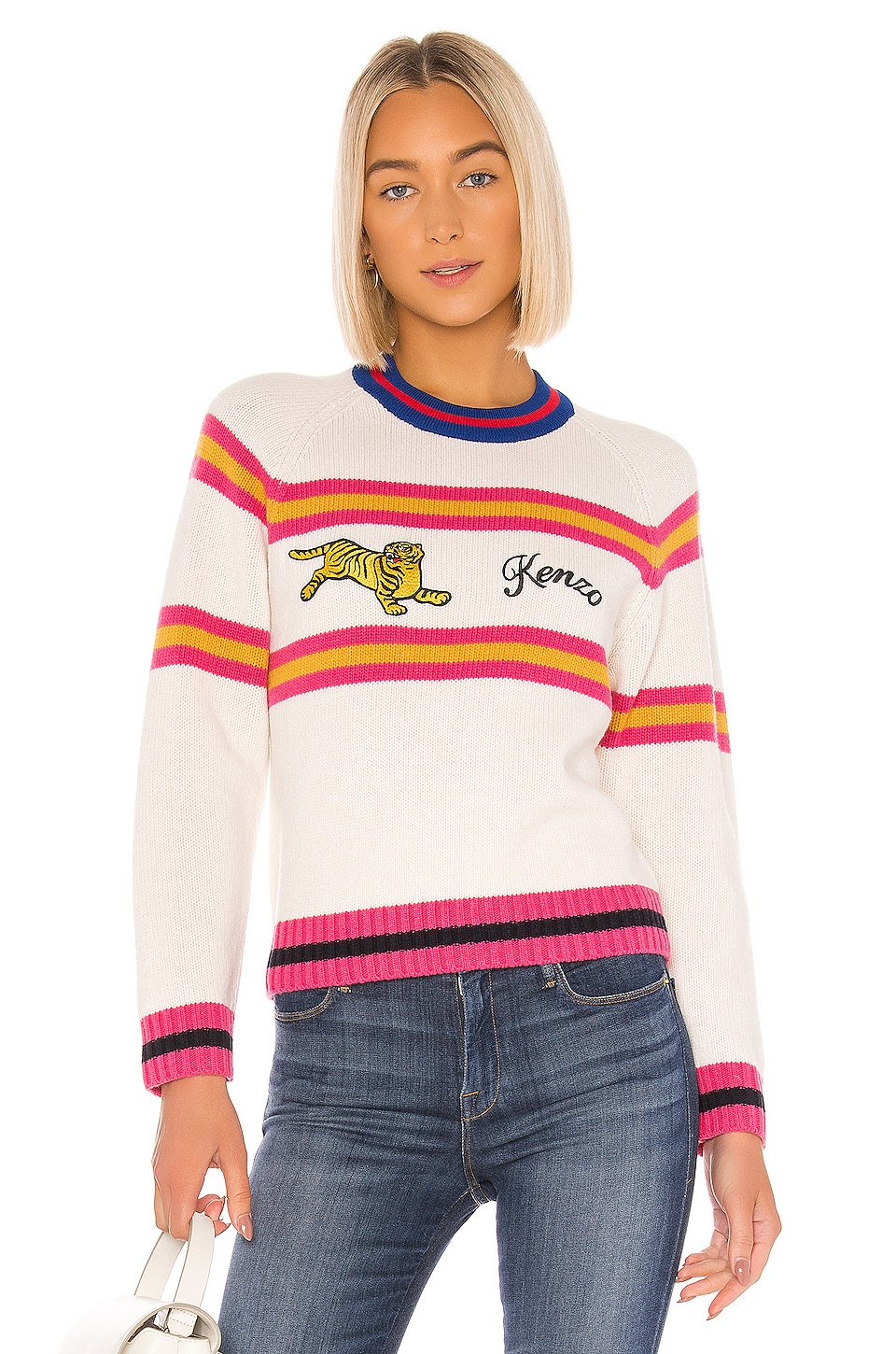 Kenzo Jumping Tiger Pullover in Ecru
