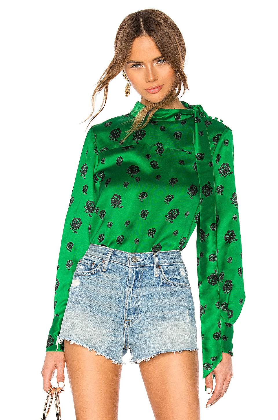 Kenzo Roses Button Up Shirt in Bottle Green