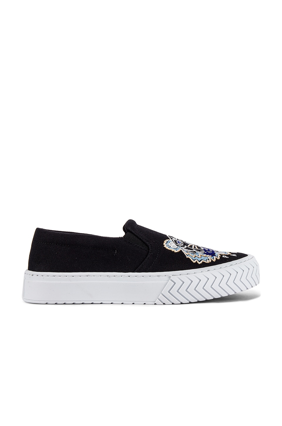 Kenzo Canvas Tiger Head Embroidery Slip On in Black