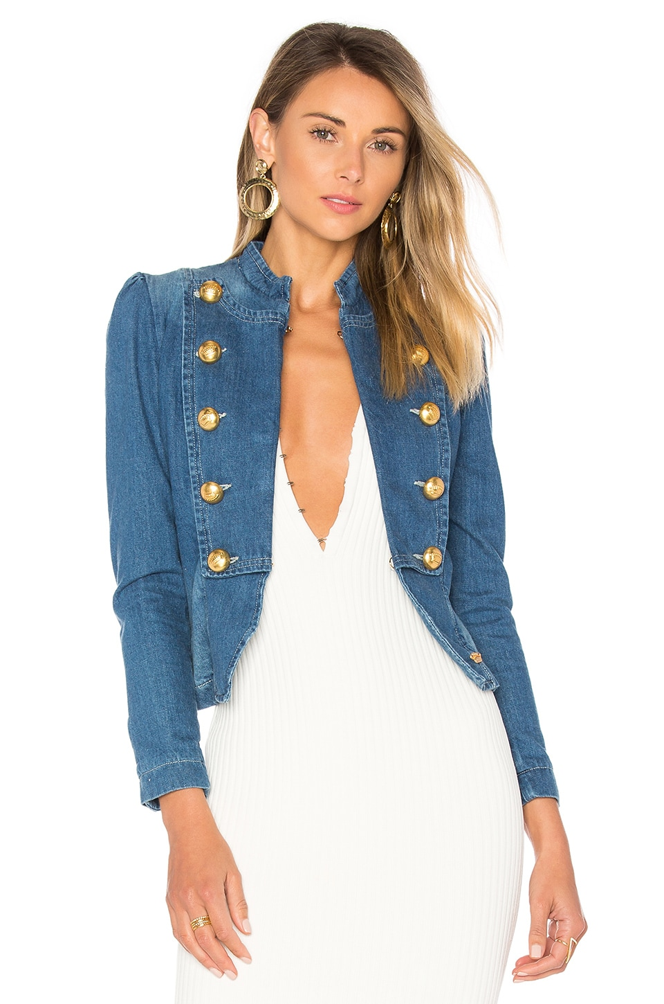 La Condesa Marquesa Denim Jacket in Blue & Red