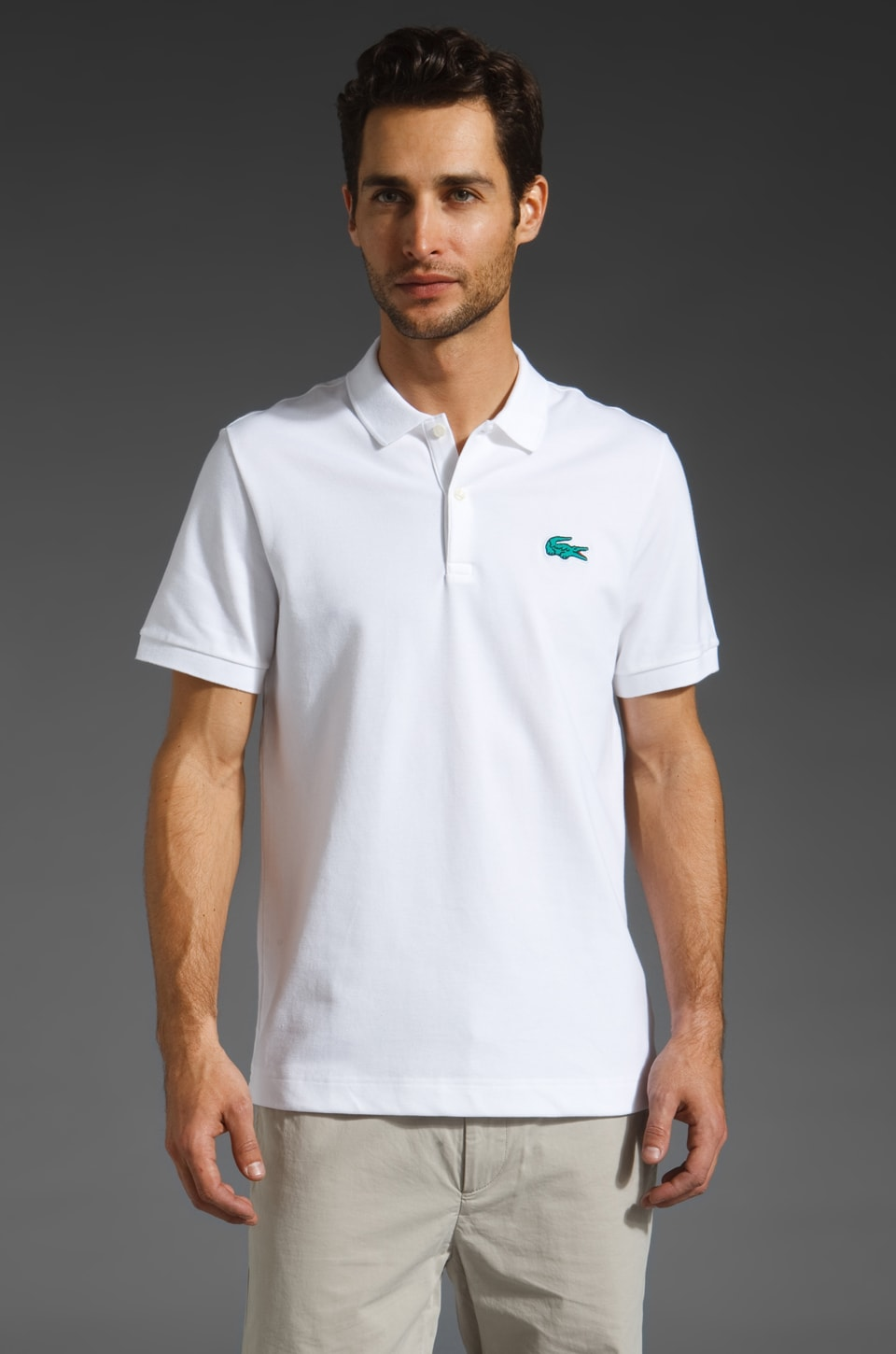 Lacoste Solid Polo with Pique Croc in White