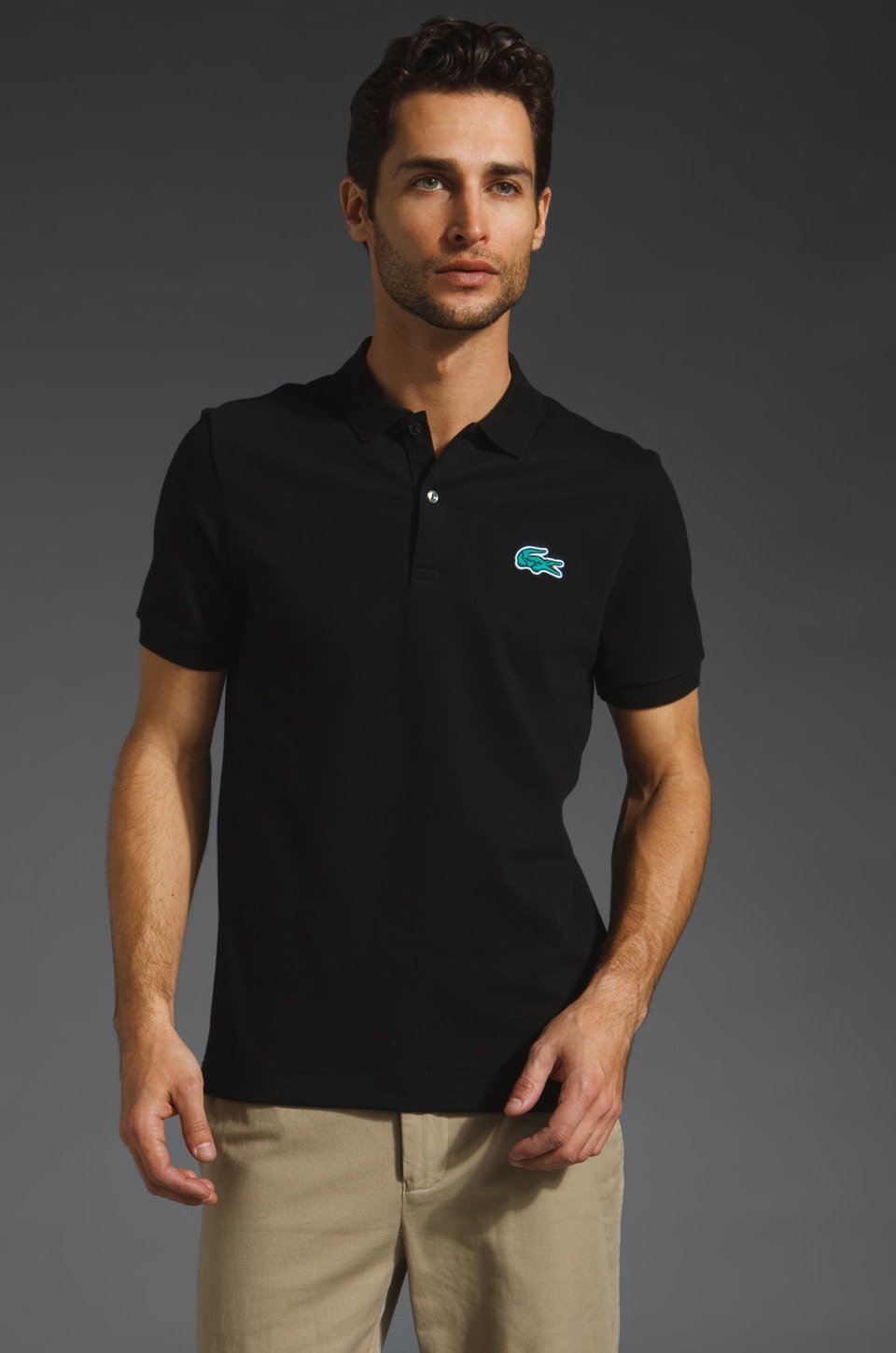 Lacoste Solid Polo with Pique Croc in Black