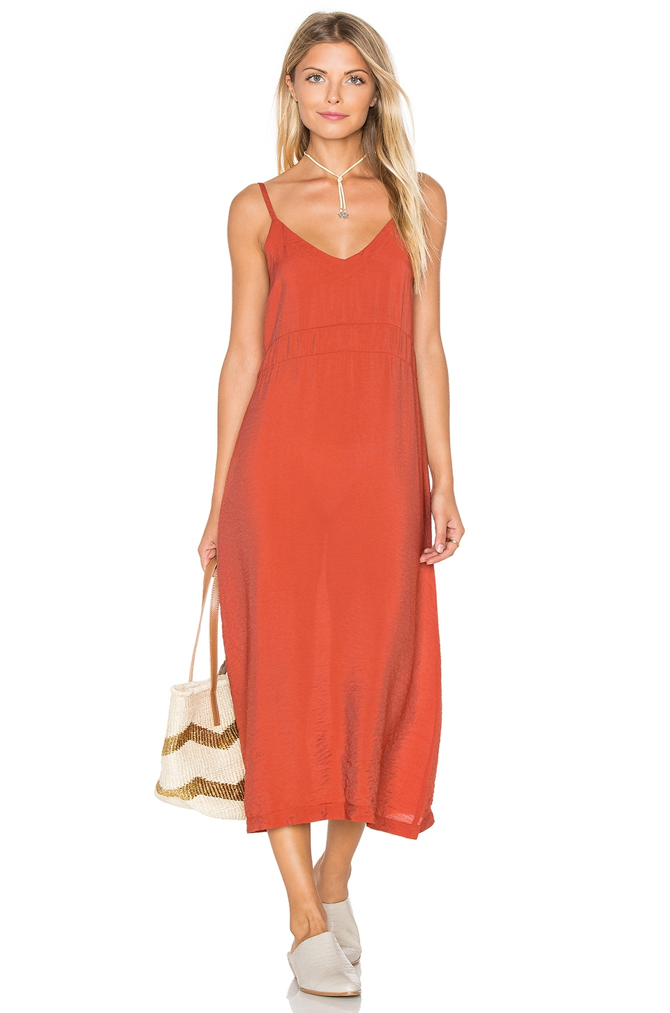 LACAUSA Alma Slip Dress in Blood Orange